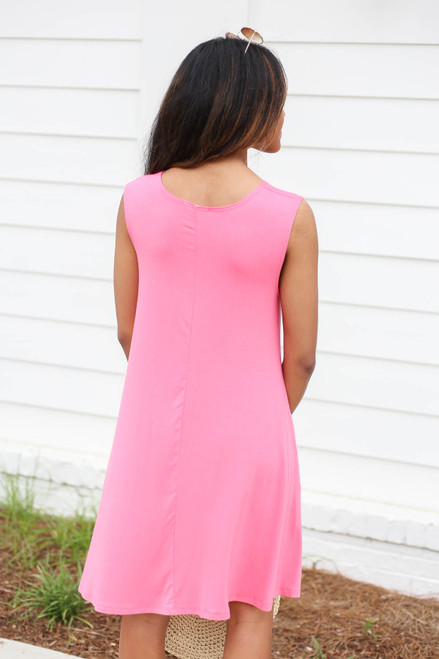Neon Pink - Pocketed Swing Dress Back View
