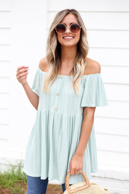 Model wearing Mint Off the Shoulder Knit Babydoll Top
