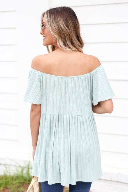 Model wearing Mint Off the Shoulder Knit Babydoll Top Back View