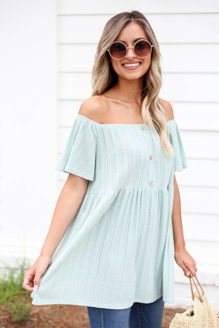 Model wearing Mint Off the Shoulder Knit Babydoll Top Side View