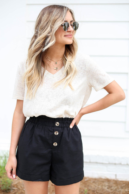 Black - Paperbag Waist Linen Shorts