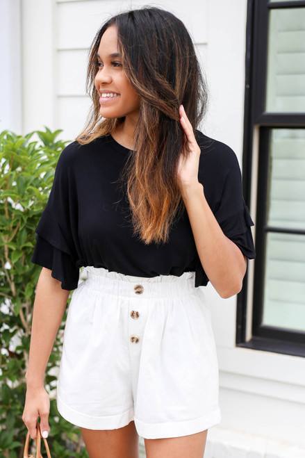 Model wearing White Paperbag Waist Linen Shorts Front View