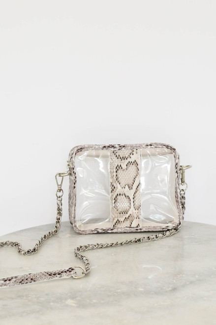 White - Snakeskin Clear Crossbody Product Photo