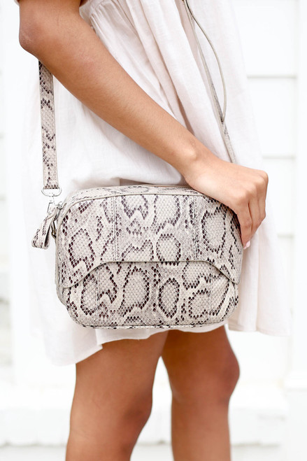 Taupe - Snakeskin Crossbody Purse Detail View
