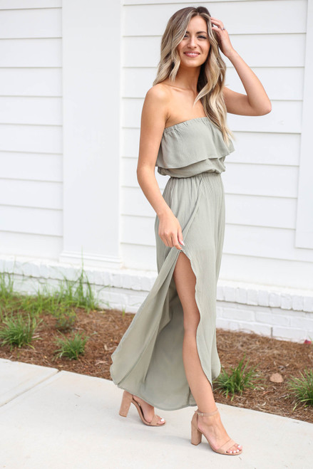 Olive - Split Leg Strapless Jumpsuit Side View
