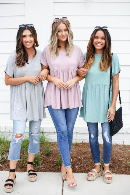 Heather Grey - Mint and Blush Heathered Babydoll Tees Group Photo