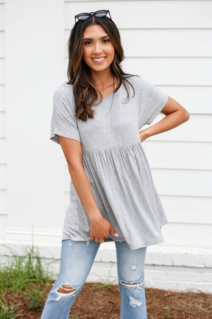 Model wearing Heather Grey Heathered Babydoll Tee Front View