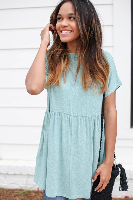 Mint - Heathered Babydoll Tee Front View
