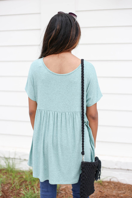 Mint - Heathered Babydoll Tee Back View
