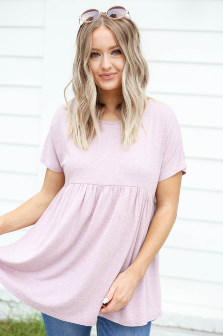 Blush - Heathered Babydoll Tee Front View