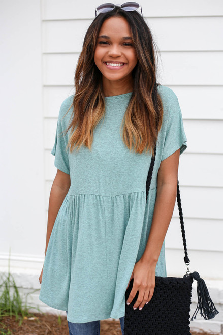 Model wearing Mint Heathered Babydoll Tee Front View