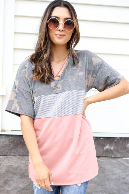 Model wearing Peach, Camo and Striped Color Block Tee