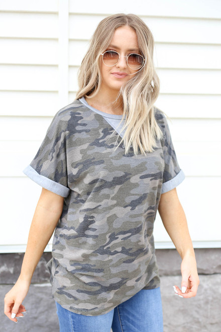 Model wearing Olive Camo Contrast Tee Side View
