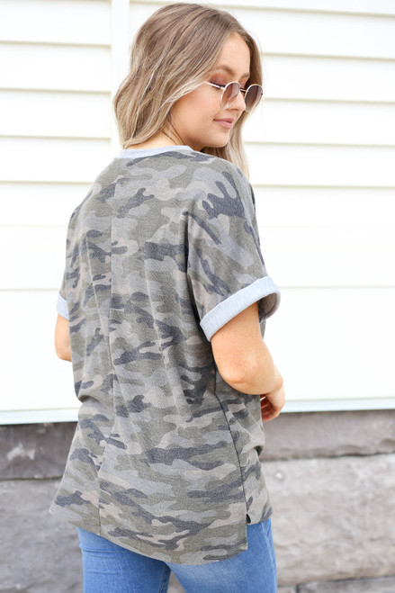 Model wearing Olive Camo Contrast Tee Back View