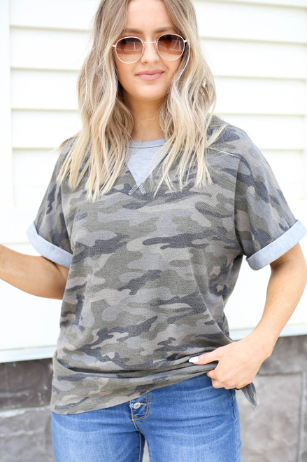 Olive - Camo Contrast Tee