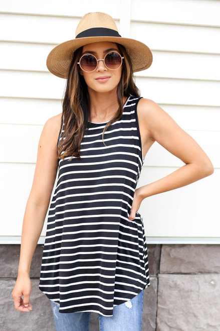 Black - Striped Tank