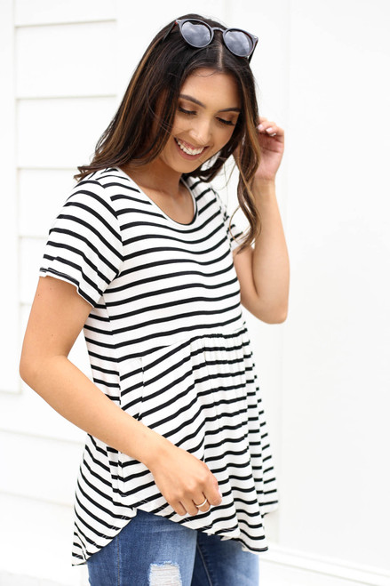 Ivory - Short Sleeve Striped Tee Side View