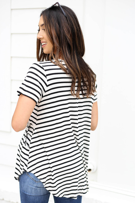 Model wearing Ivory Short Sleeve Striped Tee Back View