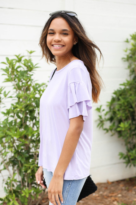 Purple - Ruffle Sleeve Top Side View