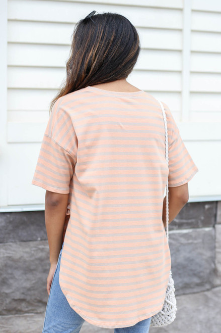 Farrah Striped Side-Slit Tee