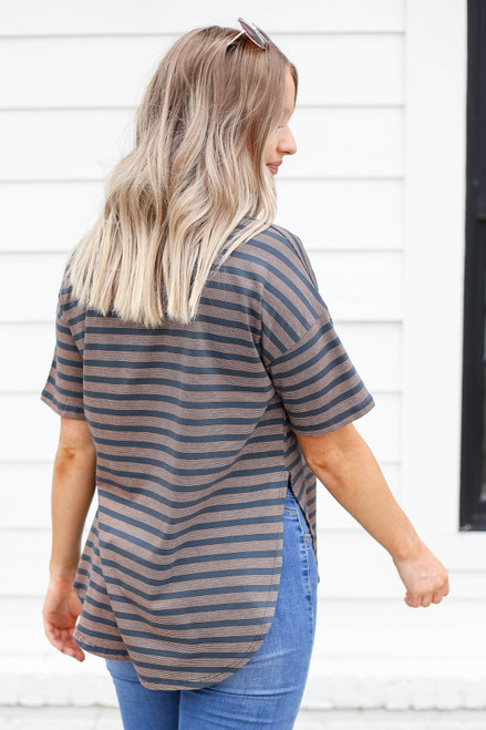 Charcoal - Striped Side-Slit Top Back View