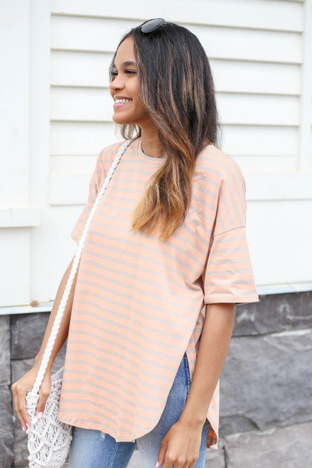 Orange - Striped Side Slit Top Side View