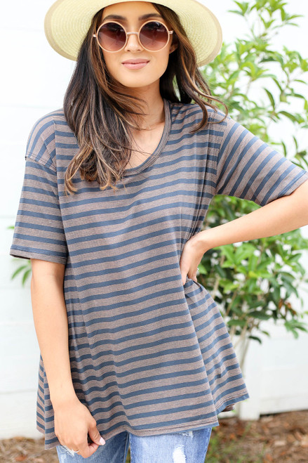 Charcoal - Oversized Striped Tee