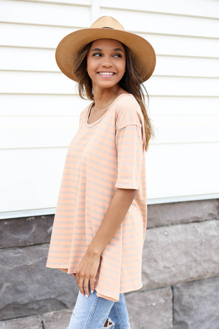 Orange - Oversized Striped Tee Side View