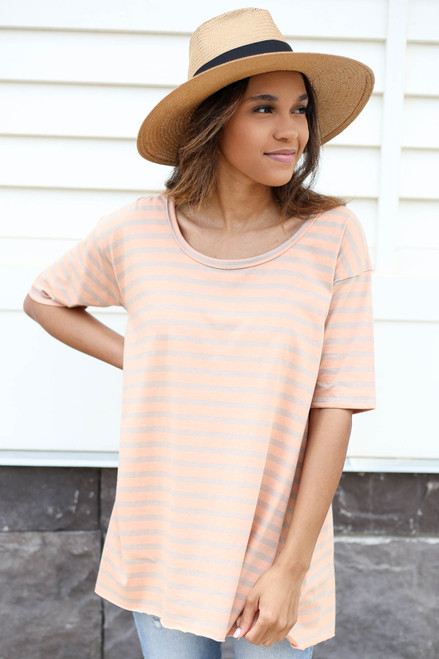 Orange - Oversized Striped Tee