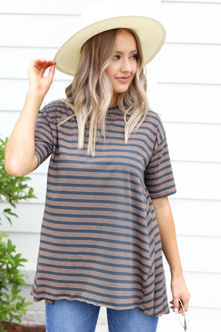 Jaclyn Striped High-Neck Oversized Tee