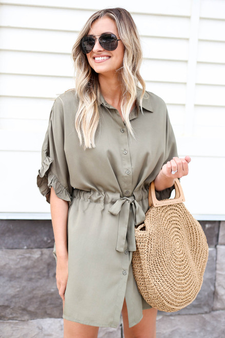 Stephanie Drawstring Ruffle Sleeve Dress