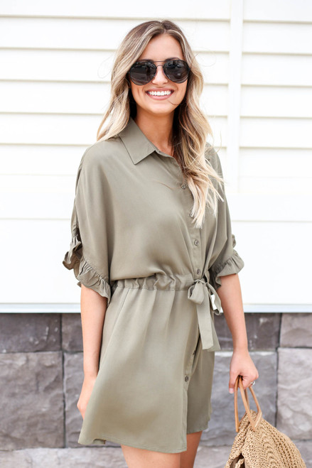 Olive - Drawstring Ruffle Sleeve Dress Side View