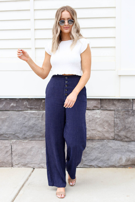Navy - Striped Wide Leg Pants