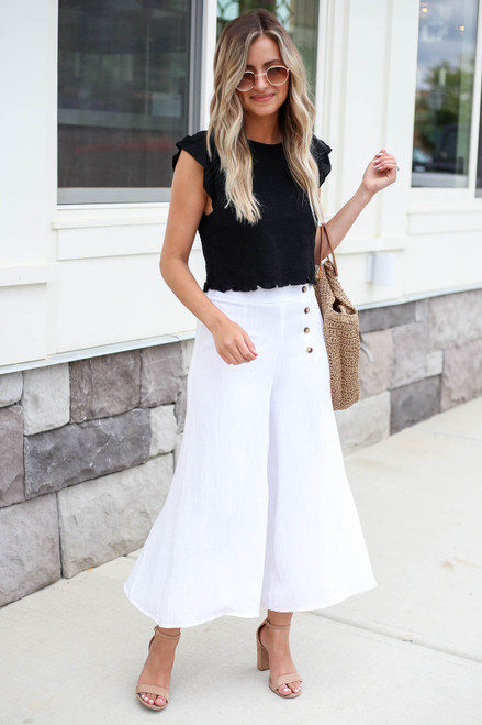 Model wearing White Button Front Cropped Pants