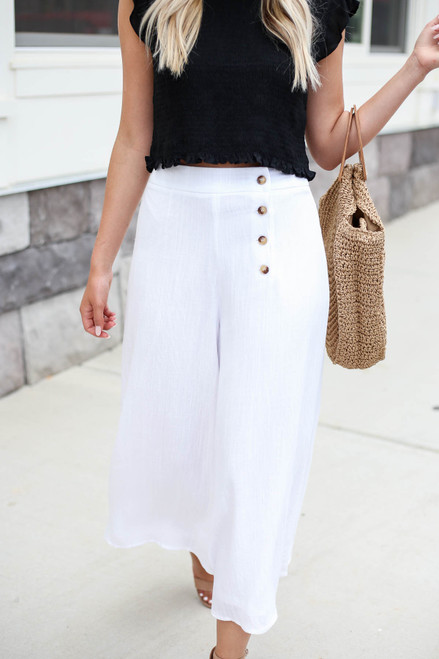 White - Button Front Cropped Pants Detail View