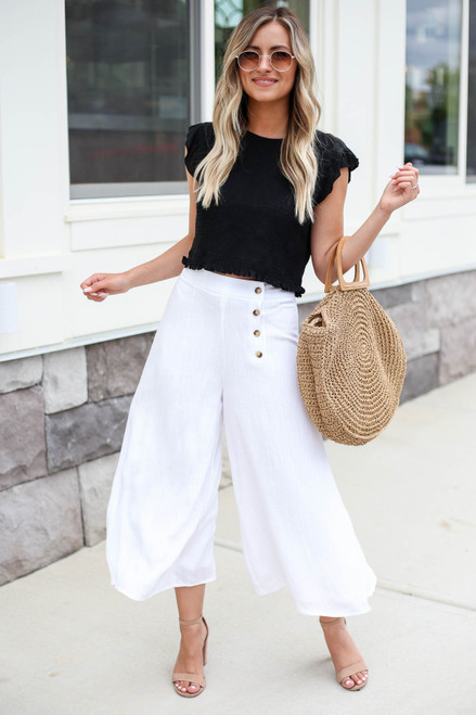 Model wearing White Button Front Cropped Pants Front View