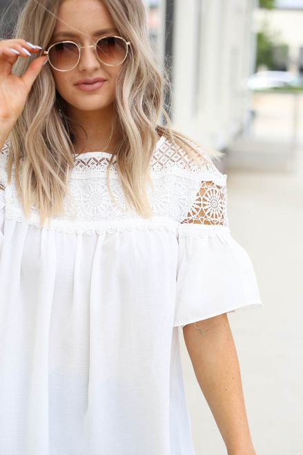 White - Ruffle Sleeve Crochet Blouse Detail View