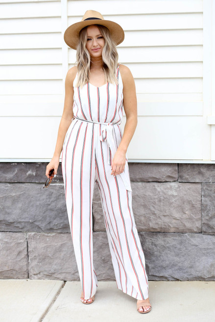 Model wearing White Jumpsuit with Red and Black Stripes Front View