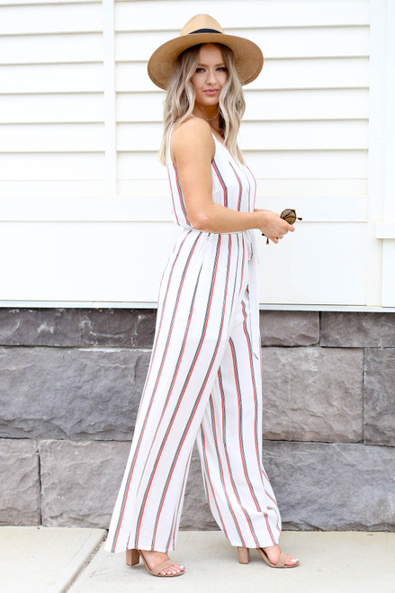 White - Jumpsuit with Red and Black Stripes Side View