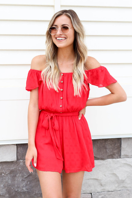 Model wearing Red Off the Shoulder Flutter Sleeve Romper Front View