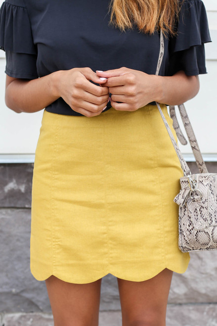 Mustard - Scalloped Mini Skirt Detail View
