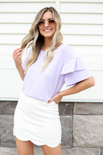 White - Scalloped Mini Skirt