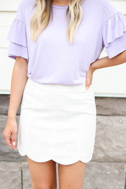 White - Scalloped Mini Skirt Detail View