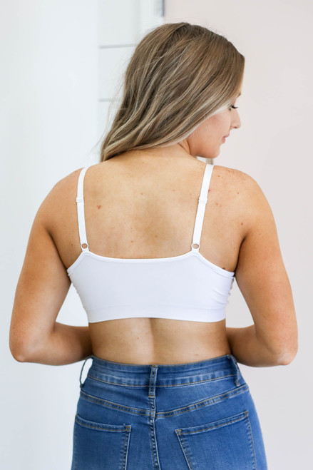White - Padded Criss Cross Neck Bralette Back View