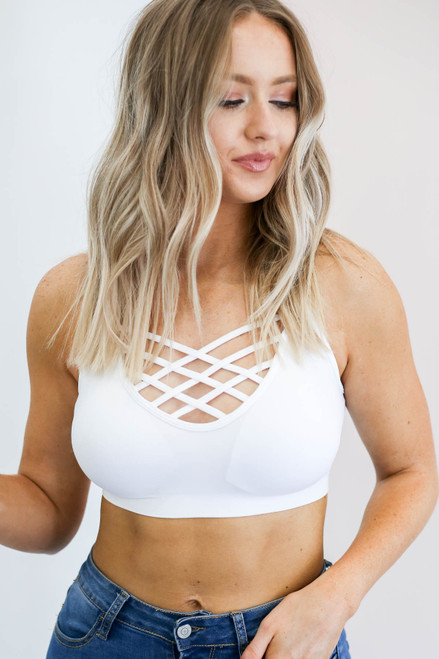 White - Padded Criss Cross Neck Bralette