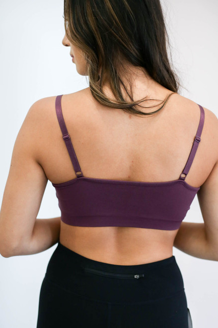 Purple - Padded Criss Cross Neck Bralette Back View