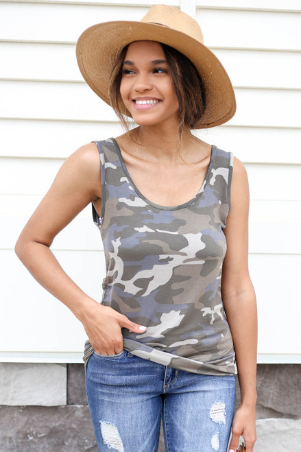Model wearing Camo Scoop Neck Tank Top Front View