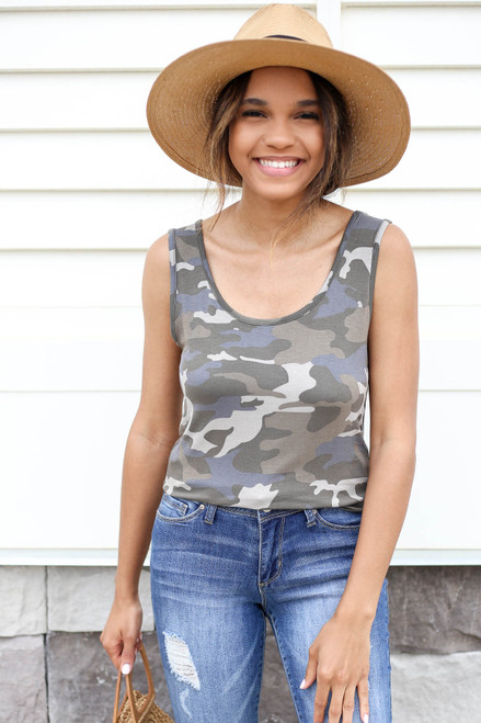 Model wearing Camo Scoop Neck Tank Top
