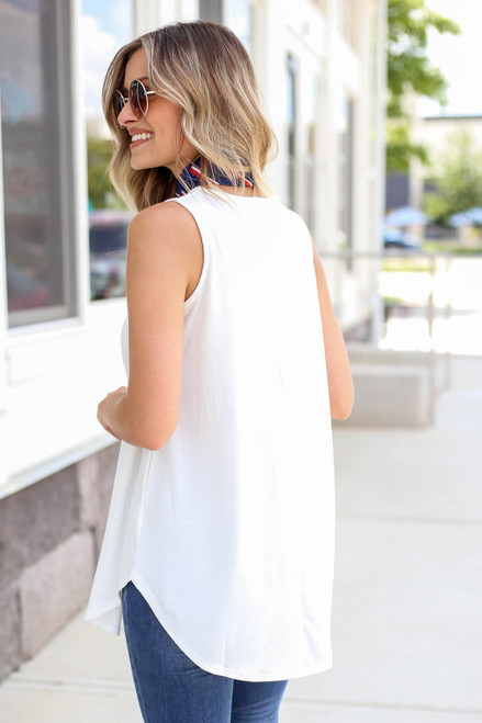 Model wearing Ivory Basic Scoop Neck Tank Top Back View