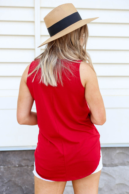 Red - Basic Scoop Neck Tank Top Back View